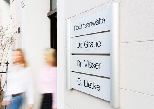 Kanzleischild der Rechtsanwälte Graue Visser Lietke aus Duisburg